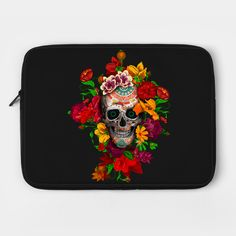 Sugar skull with flowers Laptop Case #teepublic #laptopcase #daisy #roses #floral #flower #indianchief #chief #owls #sugarskull #skull #pattern #owl #nativeamerican #native #indian #diadelosmuertos #muertes #mexicanart #dayofdead #mexicoskull #mexicosugarskull #halloween #thedayofthedead