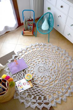 {DIY} Tappeto crochet DIY per la cameretta di Baby G! Baby G, Woodland Nursery, Kids Rugs, Crochet, Modern, Design, Home Decor, Trendy Tree, Decoration Home