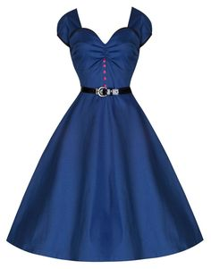 NEW LINDY BOP 'BELLA' VINTAGE 50'S DREAMY DARK BLUE LOW CUT STYLE SWING DRESS #LindyBop #BallGown #Formal