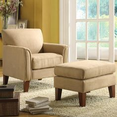 @Overstock - ETHAN HOME Uptown Peat Microfiber Modern Accent Chair and Ottoman - Enrich your home decor with this unique chair and ottoman set. The furniture features impeccable style with a tailored look.    http://www.overstock.com/Home-Garden/ETHAN-HOME-Uptown-Peat-Microfiber-Modern-Accent-Chair-and-Ottoman/4401050/product.html?CID=214117  $334.99