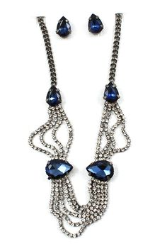 Crystal Adalyn Necklace in Sapphire on Emma Stine Limited