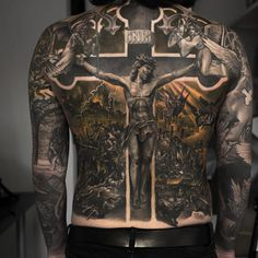 100 Religious Tattoos For Men Sacred Design Ideas Hi Here we have nice picture about jesus tattoo designs on back. We wish these photos can. Badass Tattoos, Life Tattoos, New Tattoos, Body Art Tattoos, Sleeve Tattoos, Tatoos, Faith Tattoos, Jesus Tattoo Sleeve, Crazy Tattoos