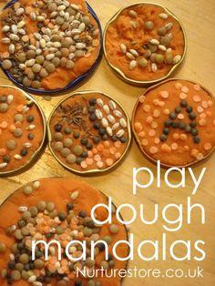 Play dough activities :: rangoli mandalas - great sensory play activity with play dough