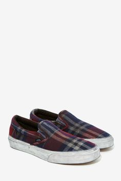 Vans Classic Slip-On Sneaker - Overwashed Plaid - Shoes   Flats