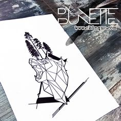 Geometric polygonal forest bear tree abstract tattoo inspiration idea bunette