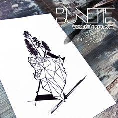 Geometric polygonal forest bear tree abstract tattoo inspiration idea bunette