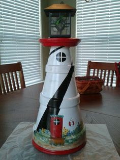 Lighthouse - Red, white, black clay pots