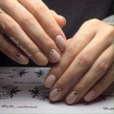 Beige nails with glitter, Caviar nails, Christmas manicure on short nails, Fashion nails 2017, Half moonnails with rhinestones, Half-moon nails ideas, Ideas for short nails, Nails with stones