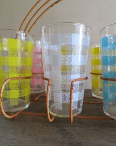 8 Federal Glass Plaid Tumbler Gingham Plaid by MinniesFlea on Etsy