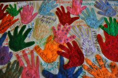 Prayer Shawl of traced hands & names of all church children. 20th anniversary gift for pastor.