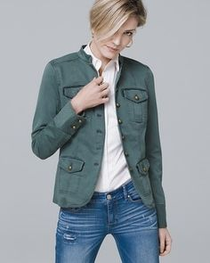 "Our salute-worthy jacket features an army-green hue and brass shank buttons. And since it's all about the details, we used trend-right velvet to outline the chest pockets and waist for a pinpoint-accurate finish. Stand collar jacket in cool olive Button closure Brass-tone hardware Shaping seams at back Regular: Approx. 24"" from shoulder Petite: Approx. 22 5/8"" from shoulder Plus: Approx. 27 1/2"" from shoulder Cotton/polyester/spandex. Machine wash cold...."