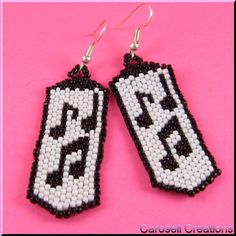 Musical Notes Beaded Dangle Earrings TAGS - Jewelry, Earrings, Dangle, musical, notes, carosell creations, beaded, chandelier, japanese seed beads, black, white, music, piano, instruments, pierced, accessories, beadweaver, weaved, orchestra, conductor, vocal, choir, director, voice, sing, song, pianist, accompany, women, ladies fashion