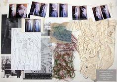 Fashion Sketchbook - fashion design development board with research & textile samples; fashion portfolio // Samantha Lai