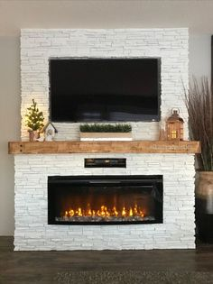 Fireplace Tv Wall, Build A Fireplace, Faux Fireplace, Fireplace Design, Fireplaces, Fireplace Inserts, Kitchen Plinth, Faux Brick, French Country Decorating