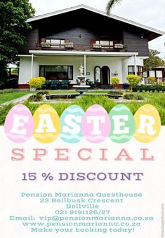 Easter Special at Pension Marianna Guesthouse 23 Bellbusk Crescent Bellville Contact Person: Maretha Harris Call: +27(0) 21 919 1126 Email: vip@pensionmarianna.co.za #accommodation #pensionmariannaguesthouse #bellville #easter #easterspecial #easterholiday Cape Town Accommodation, Easter Specials, Honeymoon Suite, Wine Sale, Event Venues, South Africa, Cruise, City, Cruises