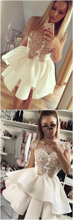 Homecoming dresses 2017 , short champagne party dresses, fashion, women's fashion.