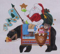 Brenda Stofft Designs Santa on Black Bear Hand Painted Needlepoint Canvas #BrendaStofftDesigns