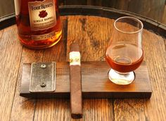 Handcrafted Whiskey Barrel Cigar and Glencarin Glass Holder / Tray - Whiskey barrel ideas - Used Whiskey Barrels, Cigars And Whiskey, Bourbon Whiskey, Wine Barrels, Whiskey Drinks, Tequila, Gin, Whiskey Distillery, Barrel Projects