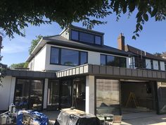 Standing seam Dormer and fascia with flat lock soffits at the top and bottom levels. Nice job I did in Woodford Green, Essex. Roof Detail, Cladding, Pergola, Flat, Mansions, Nice, House Styles, Outdoor Decor, Green