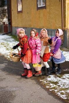This is how kids in sweden dress up for easter easter witches swedish girlseaster witches on the broom negle Image collections