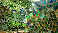Recycled (cob-style) walls with glass bottles in them, at an arts center in Deep Ellum area, Dallas, Texas