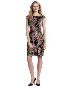 Amazon.com: Floral Jones New York Mulher Dress Impressão Rosette malha com saia em cascata: Roupas