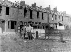 A row of damaged homes  in Silvertown,  West Ham. The blast occurred on Friday, 19 January 1917 at 6.52 pm.at a munitions factory that was manufacturing explosives for Britain's World War I military effort.