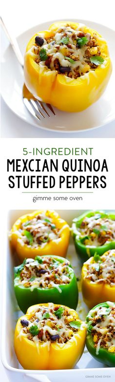 5-Ingredient Mexican Quinoa Stuffed Peppers -- vegetarian, simple to make, and super delicious!