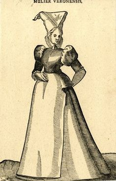 Plate 129: A Veronese woman; whole-length figure, turned slightly to left; wearing a dress with puffed sleeves and an apron and a tall kerchief; illustration to Hans Weigel's 'Habitus Praecipuorum Populorum ... das ist Trachtenbuch', 2nd ed., Ulm: Kühn for Görlin, 1639.  1577  Woodcut and letterpress