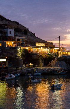Night in Matala, Crete, Greece