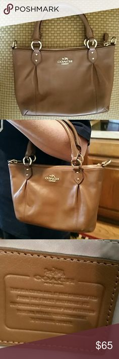 "Small leather coach bag (FLASH SALE  $40) Authentic Coach purse with shoulder strap. Cognac color. Only used a few times. No rips or stains. Excellent condition! Dimensions are 11"" across X 7 "" height. Coach Bags Shoulder Bags"
