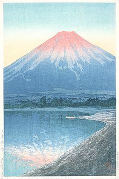 dawn on lake yamanaka 1931 - kawase hasui
