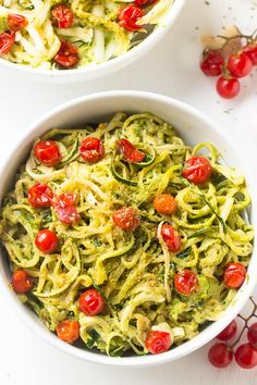 Pesto Zucchini Noodles with Burst Cherry Tomatoes have ALL the crave-worthy flavour of pasta with NONE of the guilt or carbs! Tomato Pesto, Pesto Pasta, Best Vegan Recipes, Good Healthy Recipes, Vegetarian Recipes, Free Recipes, Vegan Meals, Favorite Recipes, Vegetarian Cooking