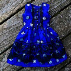 Flared dress Blue Beetle YoSD/Pullip/Azone/Blythe Blue Beetle, Handmade Dresses, Flare Dress, Blue Dresses, How To Make, How To Wear, This Or That Questions, Handmade Clothes, Fit Flare Dress