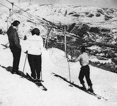 Snow Basin ski area, circa mid 1940s. :: Univ of Utah - Multimedia Archives Photographs  Wild Cat single chair lift  Skiing, Ski, Utah, Ogden, Snowbasin, Snow Basin,