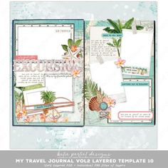 12x12 layered scrapbook page #10 in a series perfect for documenting your beach vacation or cruise to the tropics! Tropical, Journal, Scrapbook Pages, Digital Scrapbooking, Layers, Templates, Travel, Design, Art