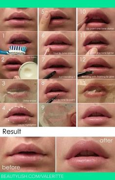 Natural Look Lip Make Up. It's really simple and easy to make it!It will takes you less than 10 minutes. You just need to choose the lip paint color according to your lip color. Don't go too far. One tone darker/lighter is what you need. With these tricks, the natural look will also stay longer. Follow the steps on the picture below and the result will be amazing.