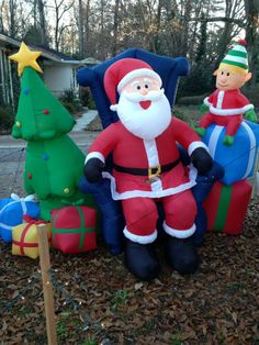 Waterproof inflatable blow up yard decor Santa manning his sleigh with three of his reindeer. In Santa's sleigh are a Christmas tree and a present. Santa has a rein to his deer. Yard Decorations, Christmas Decorations, Christmas Tree, Christmas Ornaments, Holiday Decor, Christmas Yard Inflatables, Thanksgiving Wishes, Food Drive
