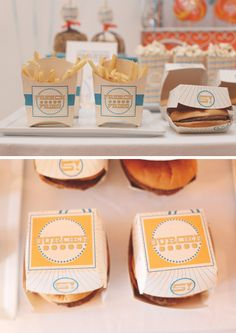 Cute fry + burger containers for party food!!