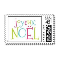 Joyeux Noel   Modern Holiday Postage Stamp