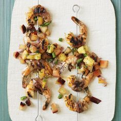 Salty pancetta and sweet summer fruit are a tasty match for succulent grilled shrimp.
