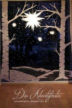 Adventsfenster, Ideen, Papier, Winterlandschaft, Birken, Herrnhuter Stern,
