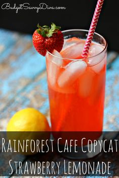 BEST DRINK EVER! Perfection In A GLASS - Done in under 1 minute! Naturally Gluten Free -#rainforest #copycat #lemonade #recipe #drink #glutenfree #budgetsavvydiva via budgetsavvydiva.com Rainforest Cafe Copycat Strawberry Lemonade Recipe