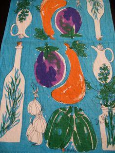 Vera eggplant Bright and fab Vera Neumann linen by fuzzandfu, $30.00