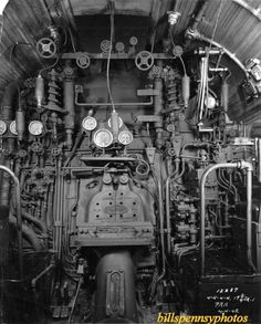 Inside the cab in a Pennsylvania 4-4-4-4 T-1 steam engine.