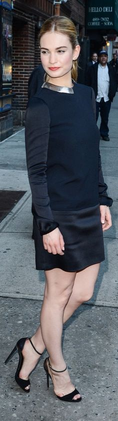 Lily James wore a sexy LBD to the David Letterman show!
