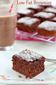 Low-fat banana brownies:     1/3 cup (1 oz/28 grams) cocoa powder     3/4 cup (150 grams) raw sugar     1/3 cup (80 ml) fat-free milk     2 cups mashed bananas (about 4 ripe bananas )     5 eggs whites lightly beaten with a pinch of salt     3/4 cup (100 grams) oat bran     3/4 cup (90 grams) whole wheat pastry flour     1 tsp baking powder