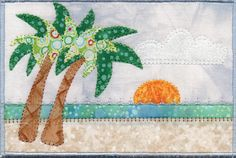 Sunrise on Ft Lauderdale Beach Quilted Fabric Postcard by zizzybob