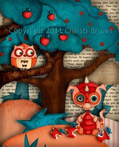 LOVE this art! The color scheme is so whimsical, and I love the book page in the background.