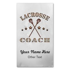 #Lacrosse Coach Steampunk Customized Business Cards.   Easy to customize! Double sided printing, $23.95 for a pack of 100. To see more of my sports business card designs, please visit: http://www.zazzle.com/gamefacegear*/ and click on the 'Customizable Business Cards' category. #BusinessCards